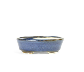 90 mm oval blue bonsai pot by Bonsai, Japan