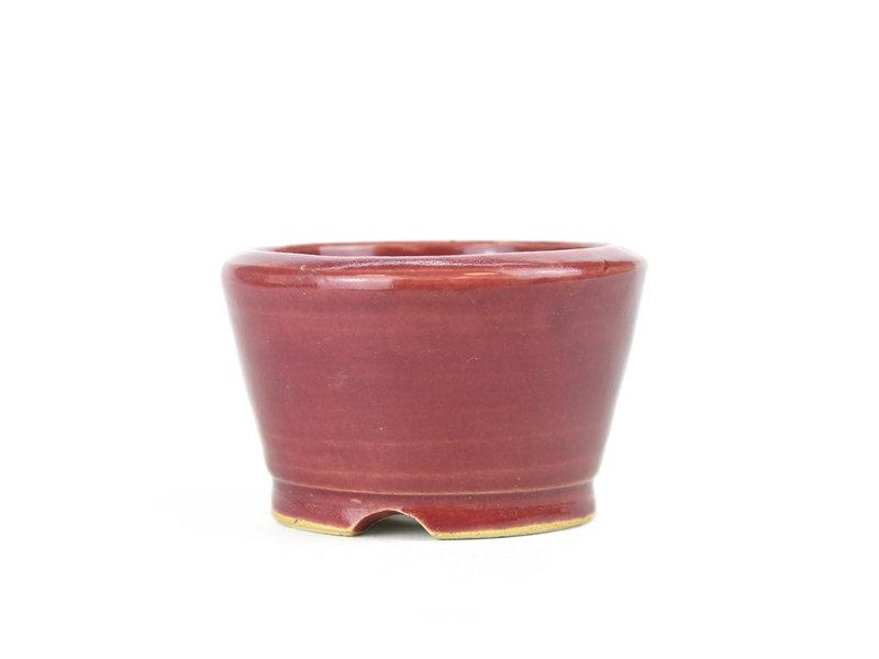Round red bonsai pot - 85 x 85 x 55 mm