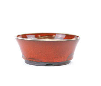 122 mm round red bonsai pot by Frank Müller, Germany