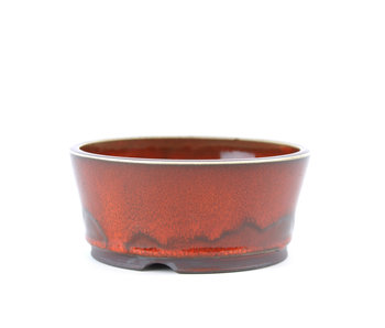 112 mm round red bonsai pot by Frank Müller, Germany