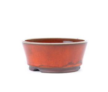 111 mm round red bonsai pot by Frank Müller, Germany