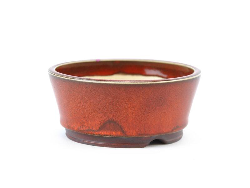 Ronde rode Frank Müller bonsaipot met een kleine chip van het glazuur van de rand - 111 x 111 x 50 mm
