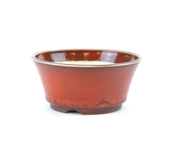 109 mm round red bonsai pot by Frank Müller, Germany