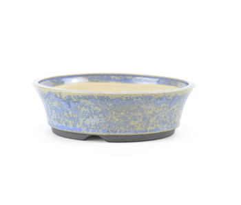 129 mm round blue bonsai pot by Frank Müller, Germany