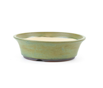 137 mm round green bonsai pot by Frank Müller, Germany