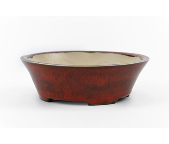 137 mm round brown bonsai pot by Frank Müller, Germany
