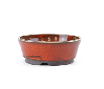 114 mm round red bonsai pot by Frank Müller, Germany
