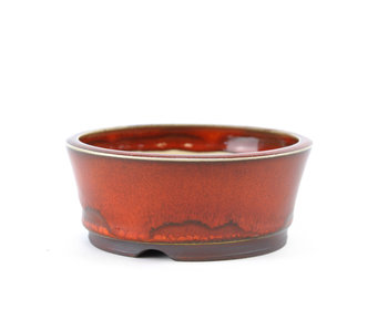 108 mm round red bonsai pot by Frank Müller, Germany