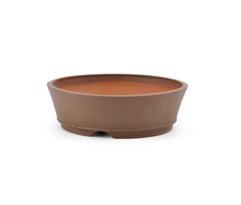 122 mm round brown bonsai pot by Frank Müller, Germany