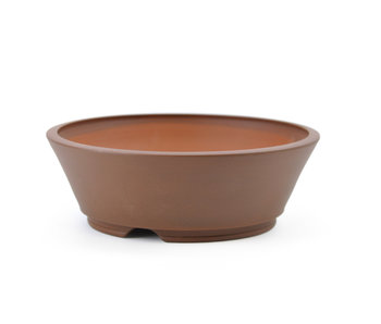 118 mm round brown bonsai pot by Frank Müller, Germany