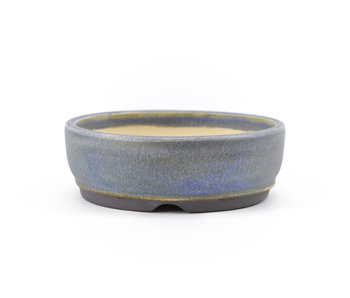 112 mm round blue bonsai pot by Frank Müller, Germany
