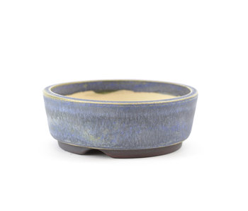 100 mm round blue bonsai pot by Frank Müller, Germany