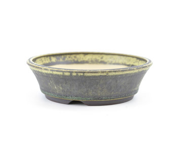 120 mm round green bonsai pot by Frank Müller, Germany