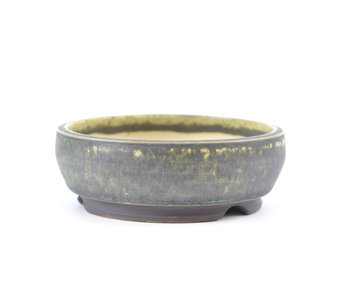 109 mm round green bonsai pot by Frank Müller, Germany