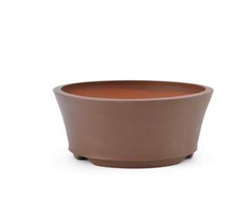 112 mm round brown bonsai pot by Frank Müller, Germany