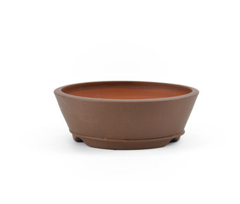 114 mm round brown bonsai pot by Frank Müller, Germany
