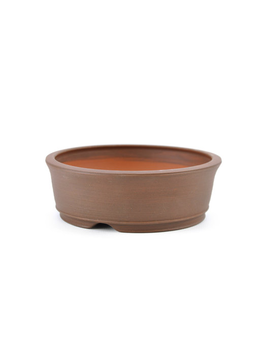 115 mm round brown bonsai pot by Frank Müller, Germany
