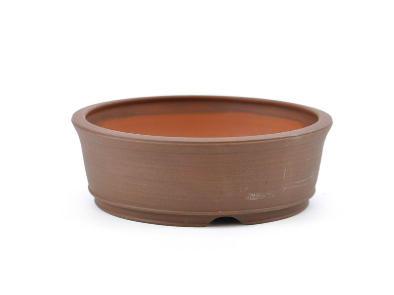 Round brown Frank Müller bonsai pot - 115 x 115 x 38 mm