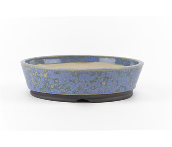 130 mm round blue bonsai pot by Frank Müller, Germany