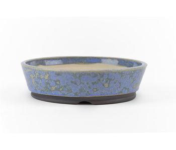 Pot à bonsaï rond bleu 130 mm par Frank Müller, Allemagne
