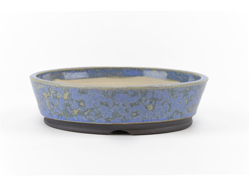 Round blue Frank Müller bonsai pot - 130 x 130 x 35 mm