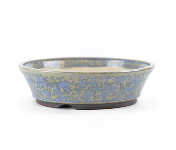 133 mm round blue bonsai pot by Frank Müller, Germany