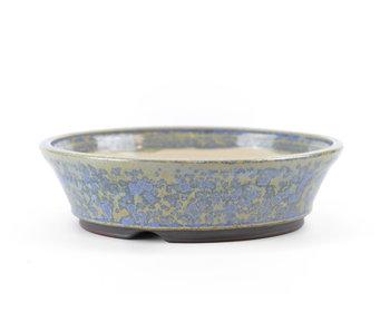 Pot à bonsaï rond bleu 133 mm par Frank Müller, Allemagne