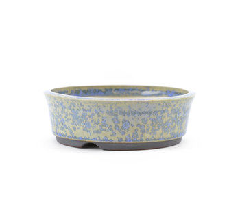 120 mm round blue bonsai pot by Frank Müller, Germany