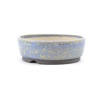 122 mm round blue bonsai pot by Frank Müller, Germany