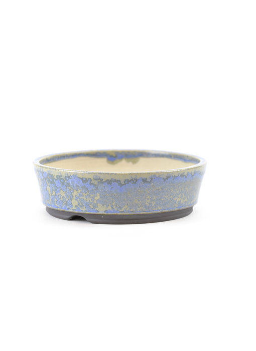 123 mm round blue bonsai pot by Frank Müller, Germany