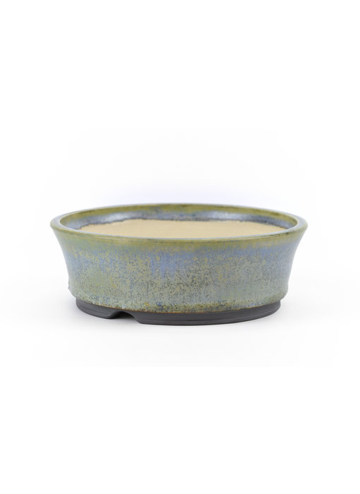 141 mm round blue and green bonsai pot by Frank Müller, Germany