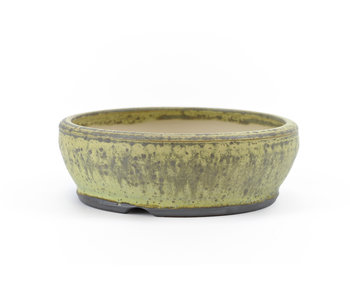 135 mm round green bonsai pot by Frank Müller, Germany