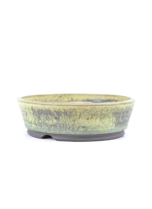 133 mm round green bonsai pot by Frank Müller, Germany