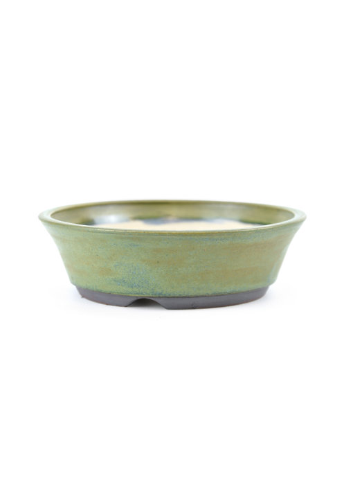116 mm round green bonsai pot by Frank Müller, Germany