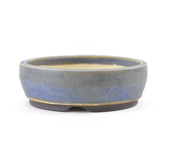 115 mm round blue bonsai pot by Frank Müller, Germany