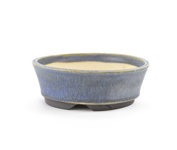 Pot à bonsaï rond bleu de 103 mm par Frank Müller, Allemagne