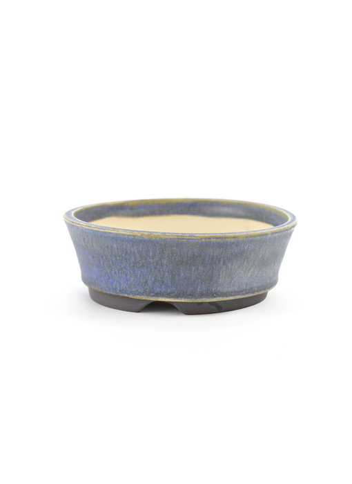 103 mm round blue bonsai pot by Frank Müller, Germany