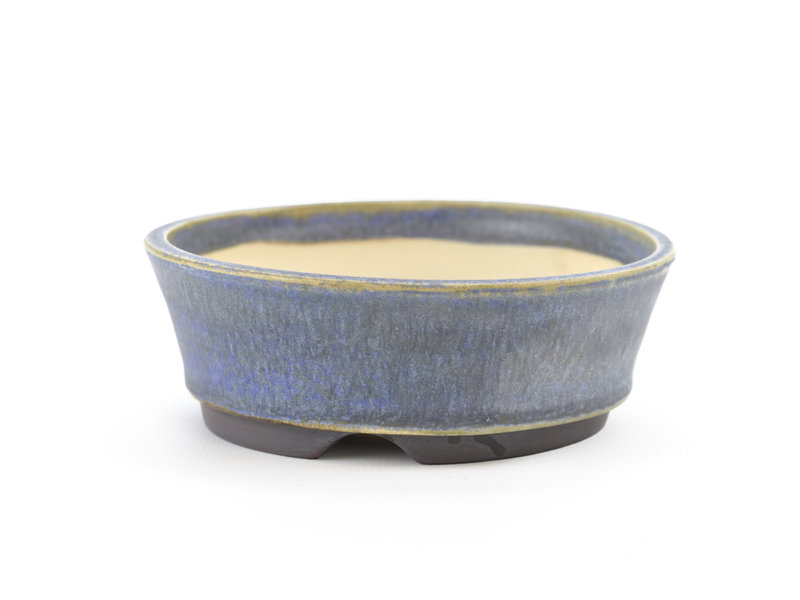 Round blue Frank Müller bonsai pot - 103 x 103 x 37 mm