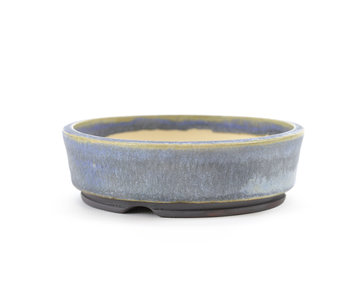 109 mm round blue bonsai pot by Frank Müller, Germany