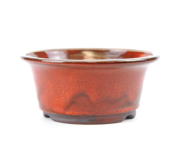 124 mm round red bonsai pot by Frank Müller, Germany