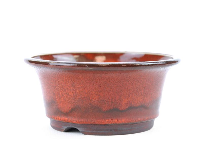 Round red Frank Müller bonsai pot - 124 x 124 x 55 mm