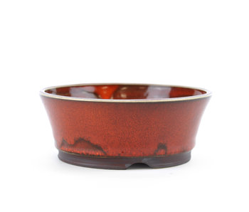 117 mm round red bonsai pot by Frank Müller, Germany
