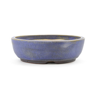 126 mm round blue bonsai pot by Frank Müller, Germany