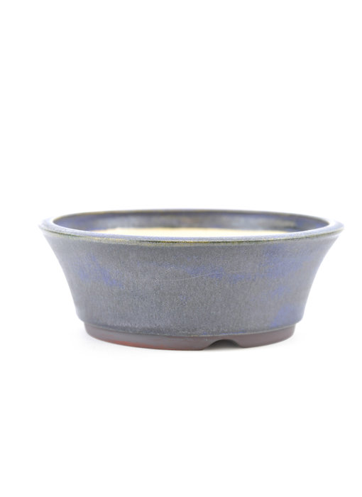 137 mm round blue bonsai pot by Frank Müller, Germany