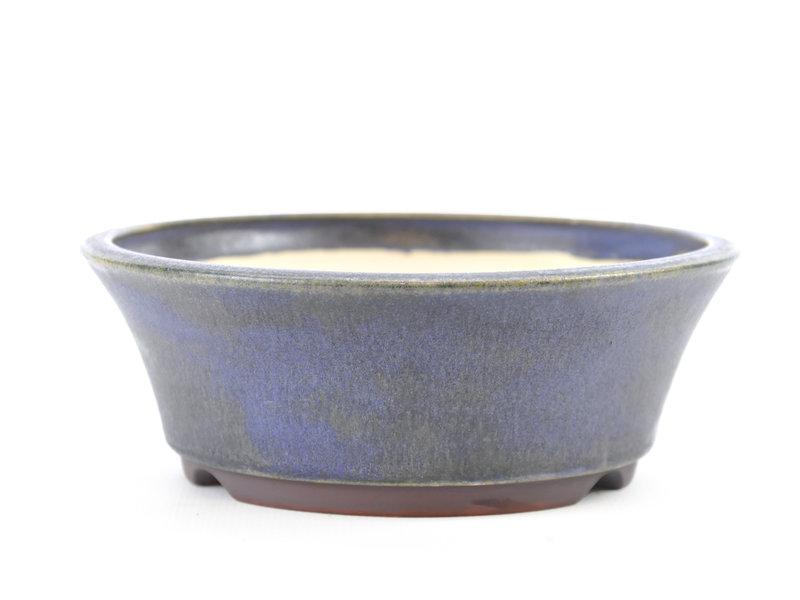 Round blue Frank Müller bonsai pot - 137 x 137 x 48 mm