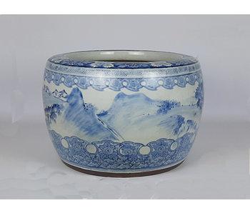Pot de fleur japonais Hibachi en porcelaine 31 cm