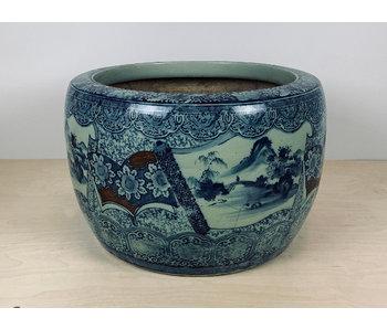 Pot de fleurs japonais Hibachi en porcelaine 37 cm