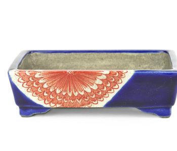 150 mm rectangular blue bonsai pot by Mazan, Tokoname, Japan