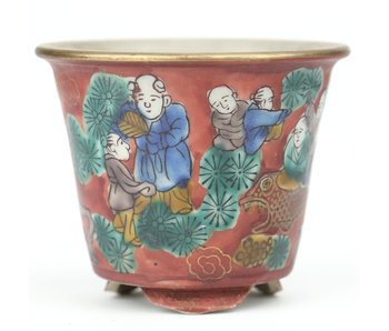 74 mm round multicolor bonsai pot by Kutani, Japan