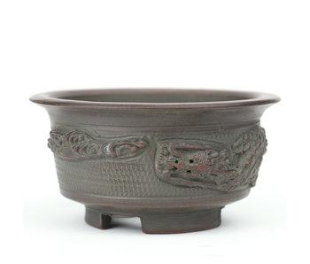 83 mm round unglazed bonsai pot by Bigei, Tokoname, Japan